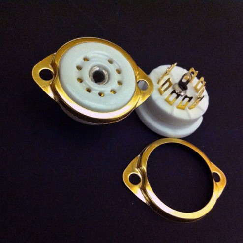 9 Pin B9A Ceramic Gold Chassis Socket